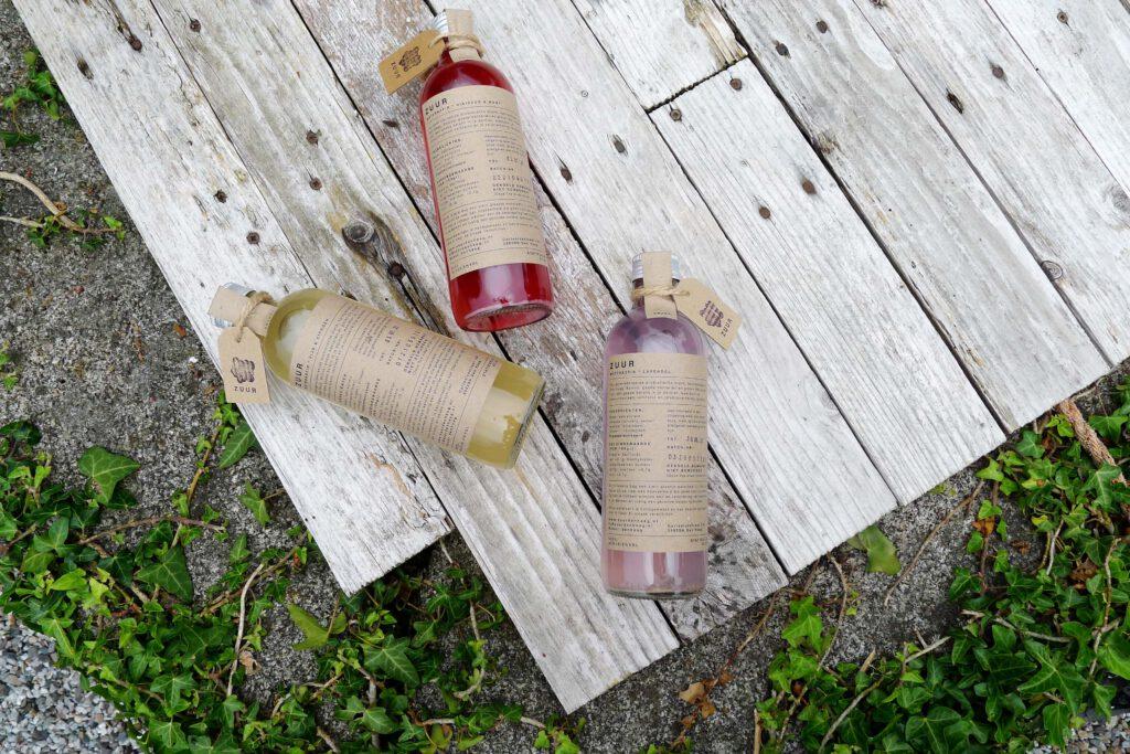 ZUUR waterkefir smaken; Hibiscus & Munt, Vijg & Citroen, Lavendel