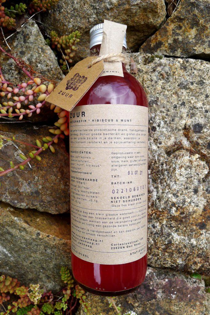 Fles ZUUR waterkefir; Hibiscus & Munt